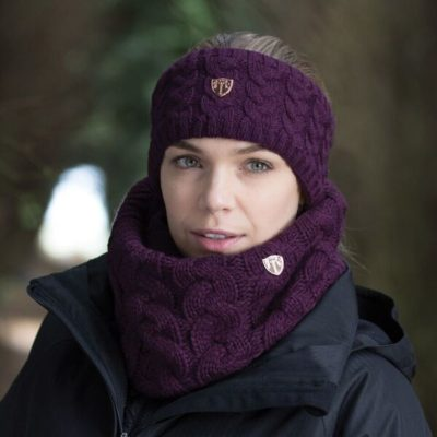 Cable Knit Loop Scarf Mulberry